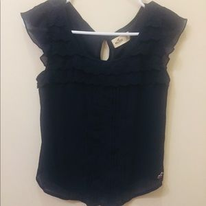 Hollister Short Sleeve Frilly Top